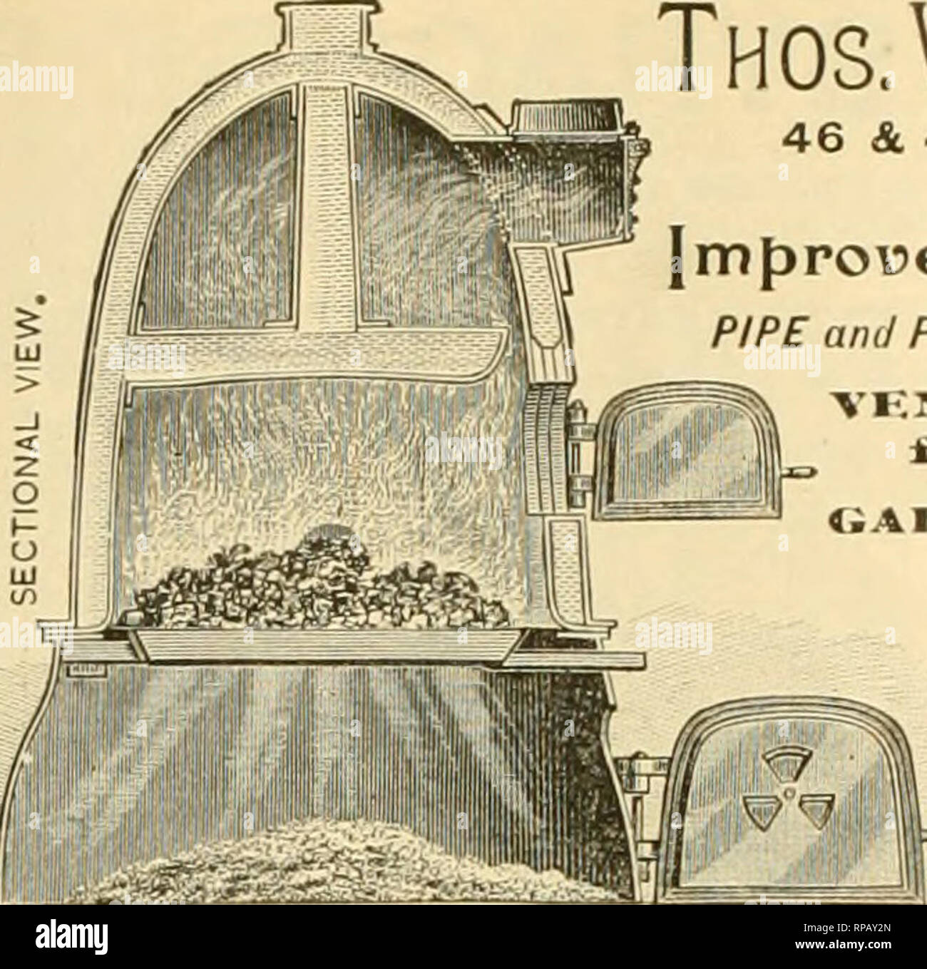 """. The American florist : a weekly journal for the trade. Floriculture; Florists. A CARMODY BOILER Will Cost less, I'se less Fuel, and has more advantages than any other Biiler in the market. B^"""" Seuii for Ue8. OA.iiJMorj^v', EVANSVILLE, IND. il' . _• -ft^,s£iii£Si A til,. Vt-nlilm i«liv«*r»'i] Thos. W.Weathered'S Sons, 46 &. 48 MARION STREET. NEW YORK. MANUFACTURERS OF Improued ^oilers (si.«kinK orates). PIPE and PIPE FITTINGS, for heating Greenhouses, &c VF.isTii..*'rirVIRe for Trellis WorU. • ALSO • ^opticultupal® l^uildeps. Conservatories, Greenhouses, &c.. Erected in any p - Stock Image"""