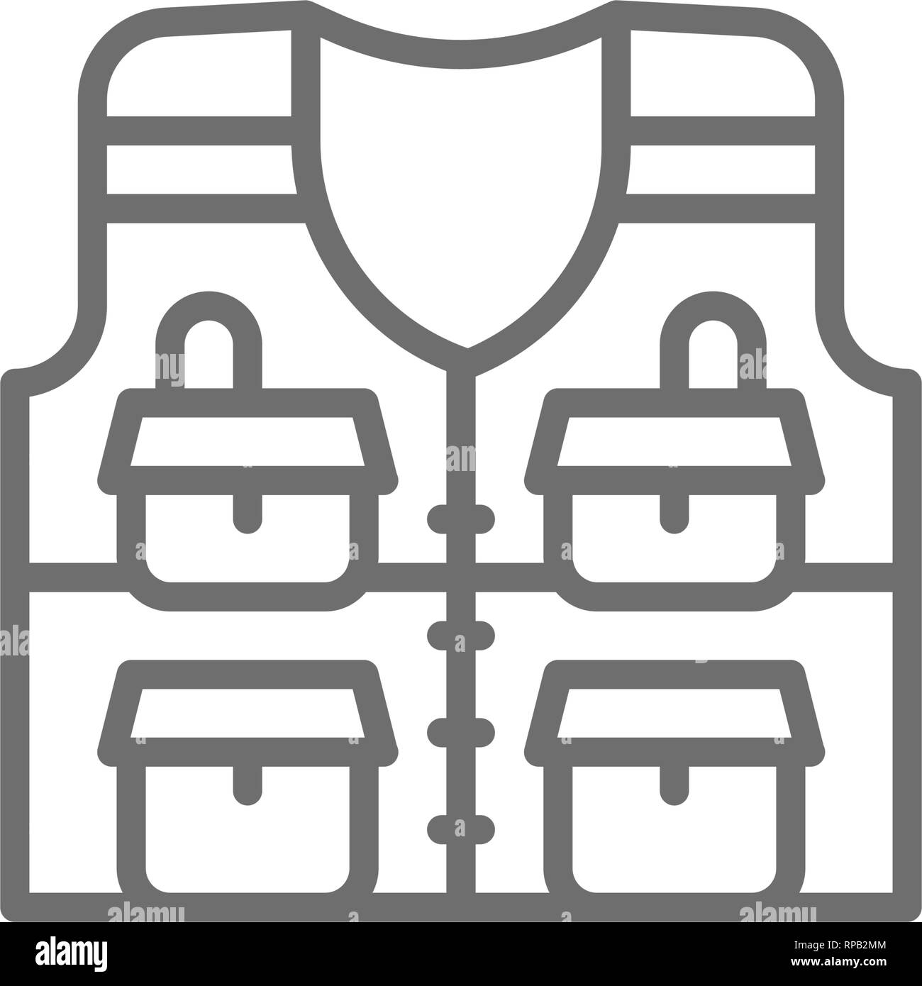 Vest with pockets, fishing jacket line icon. - Stock Image