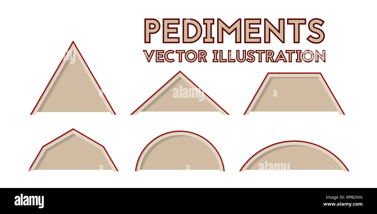 Different types of pediments. Vector illustration. Set of construction drawings. - Stock Vector