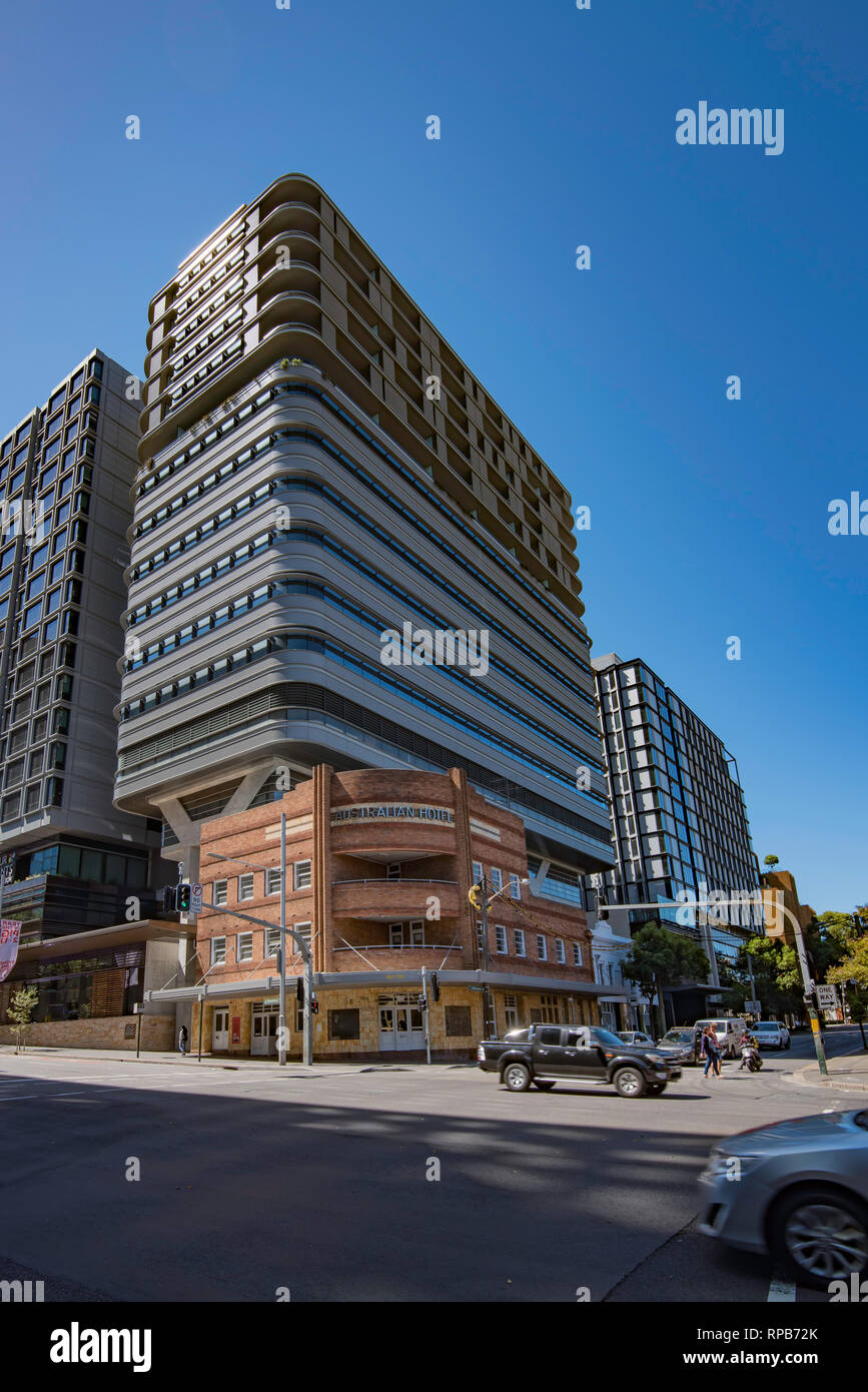 Duo towers are part of Sydney's Central Park village and are mixed use buildings housing retail, apartments, a hotel and part of UTS university - Stock Image