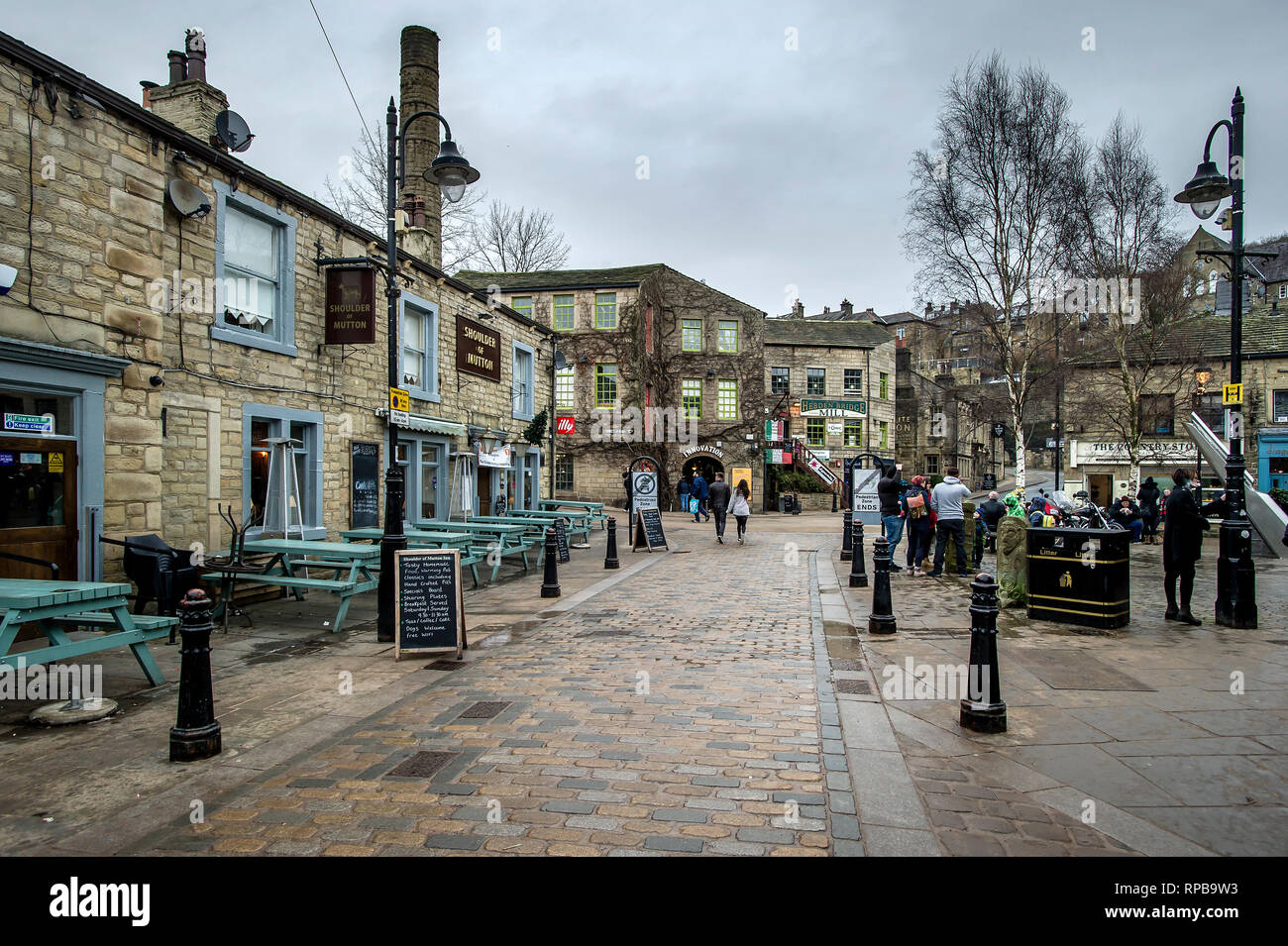 Hebden Bridge is a market town in the Upper Calder Valley in West Yorkshire, England. The town sits on the River Calder and has the Rochdale Canal ser - Stock Image