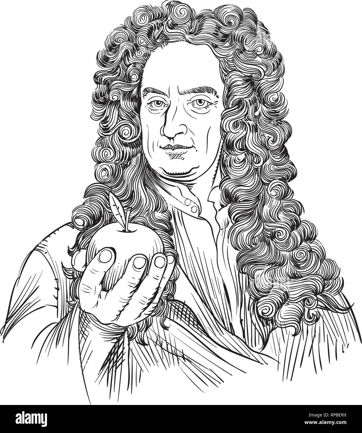 Isaac Newton portrait in line art illustration. He was an astronomer, scientist, philosopher, mathematician and physicist. - Stock Vector