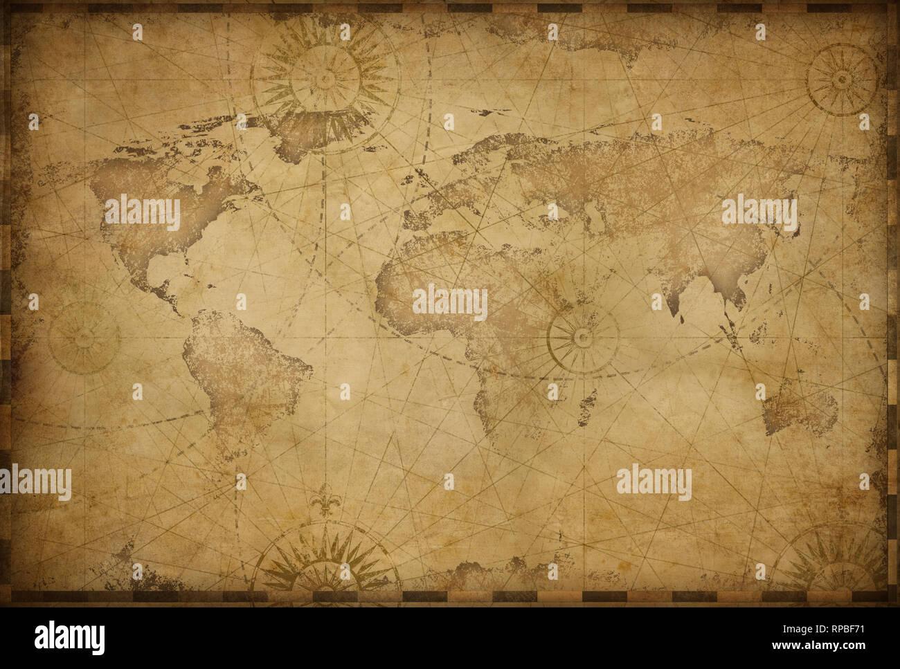 Vintage old world map illustration based on image furnished by NASA ...