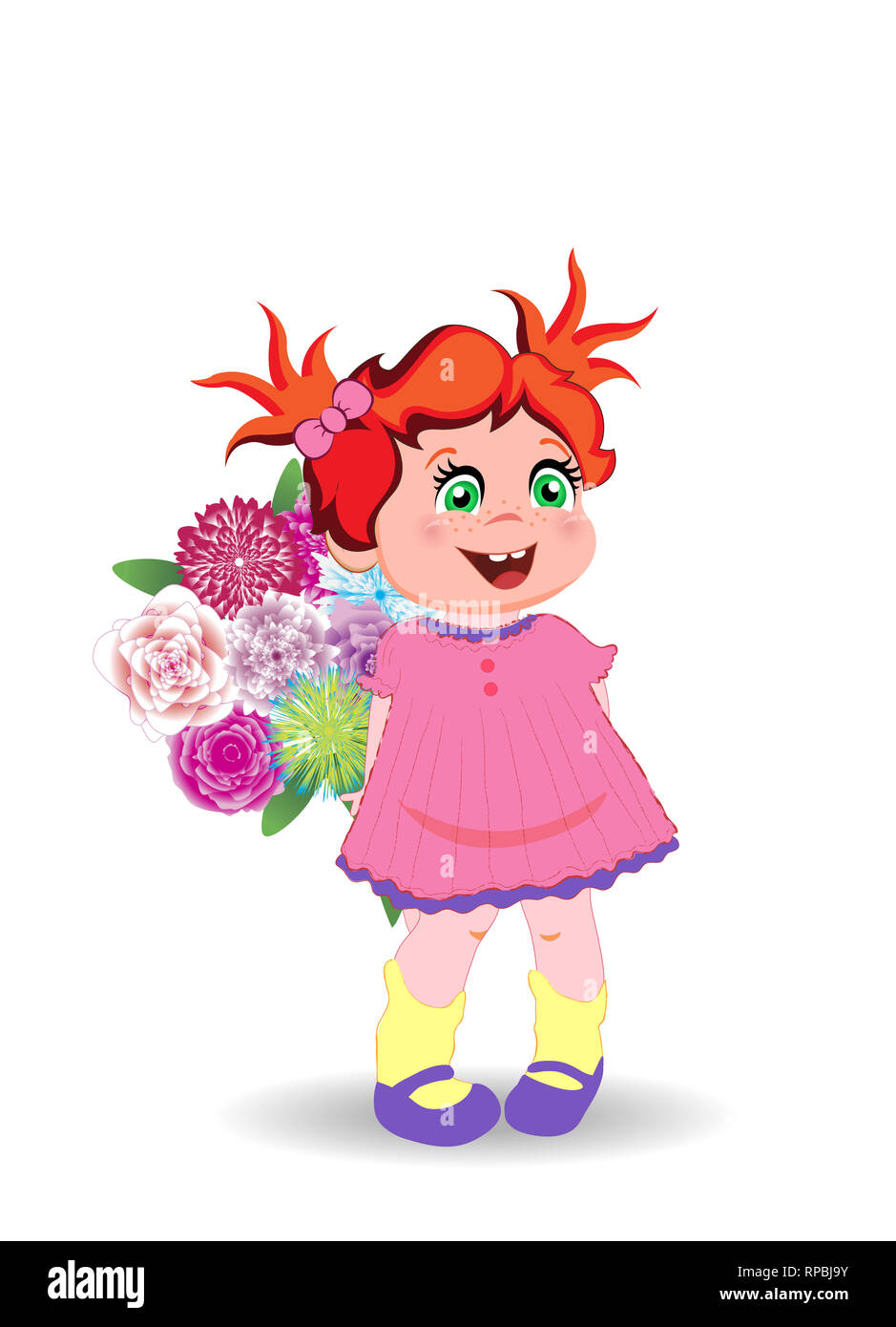Illustration of Cute Little Girl in Pink Dress with Bunch of Flowers Isolated on White Background. Kawaii Baby Character Clip Art for Birthday Greetin - Stock Image