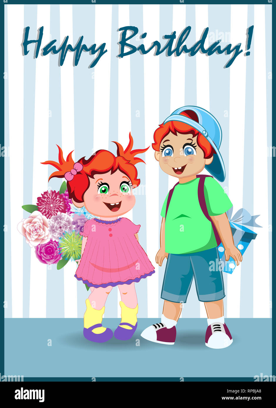 Happy birthday greeting card of cute cartoon kids characters holding big gift box and flowers bouquet