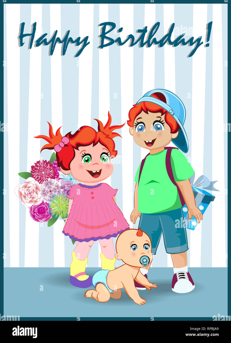 Happy Birthday Greeting Card Of Cute Cartoon Kids Characters Holding Big Gift Box And Flowers Bouquet On Striped Background Illustration Kawaii Baby