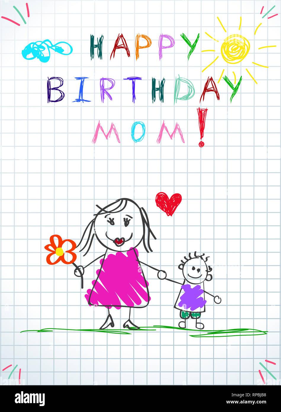 Happy Birthday Mom  Children Colorful Hand Drawn