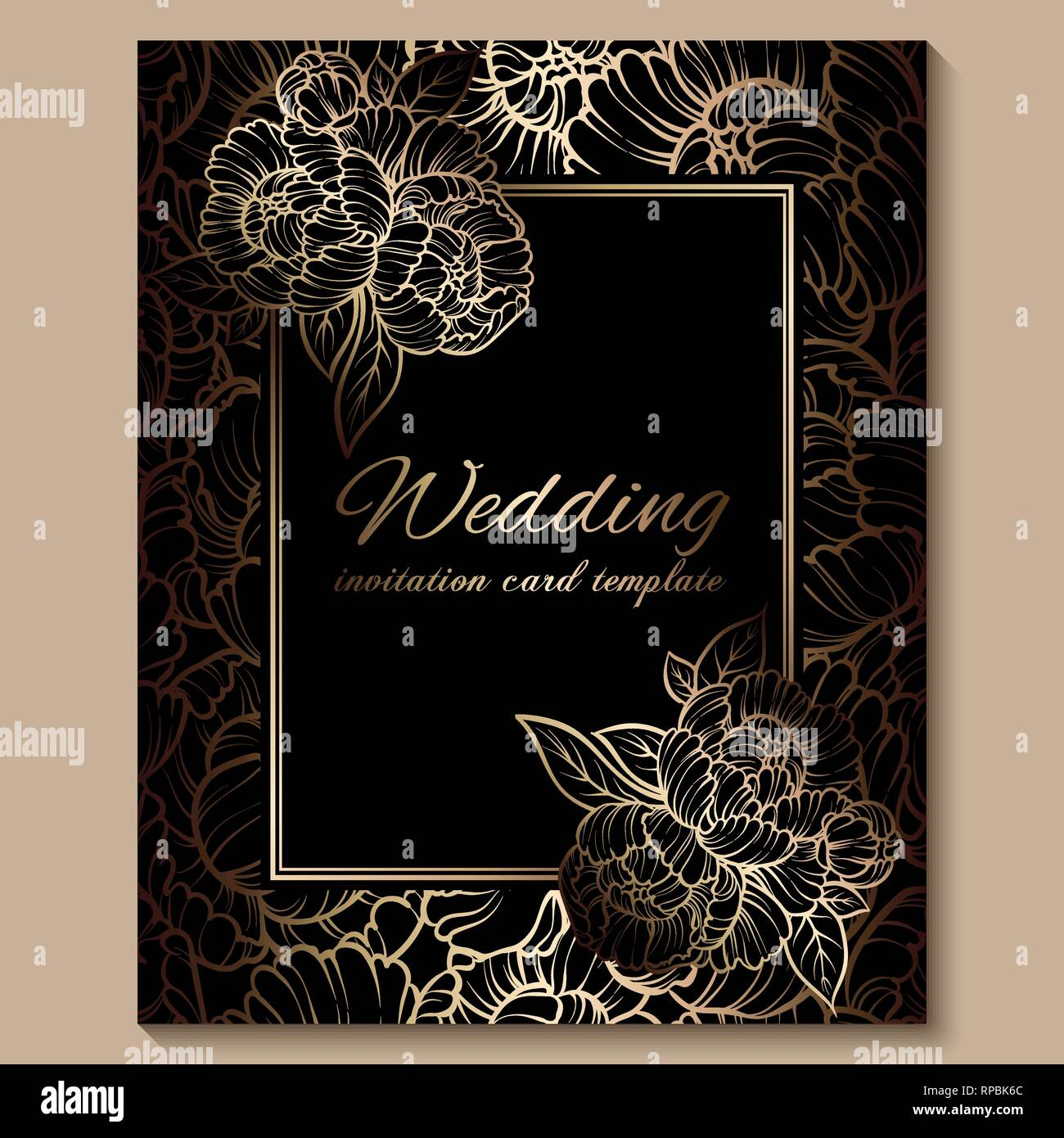 Antique royal luxury wedding invitation, gold on black background with  frame and place for text, lacy foliage made of roses or peonies with shiny  grad Stock Vector Image & Art - Alamy