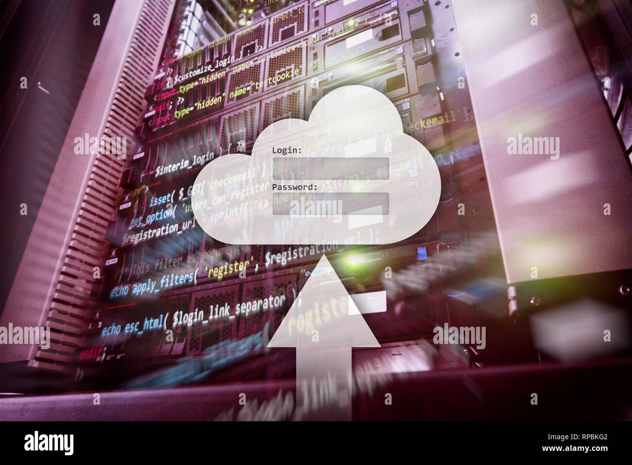 Cloud storage, data access, login and password request window on server room background. Internet and technology concept. Stock Photo
