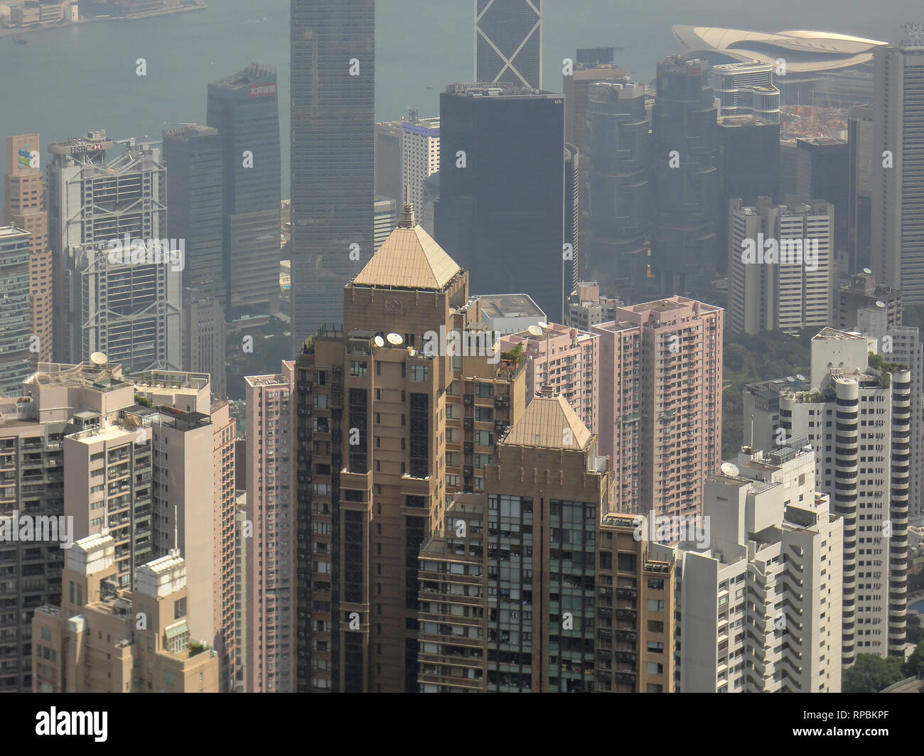 Hong Kong on a misty air polluted day. - Stock Image