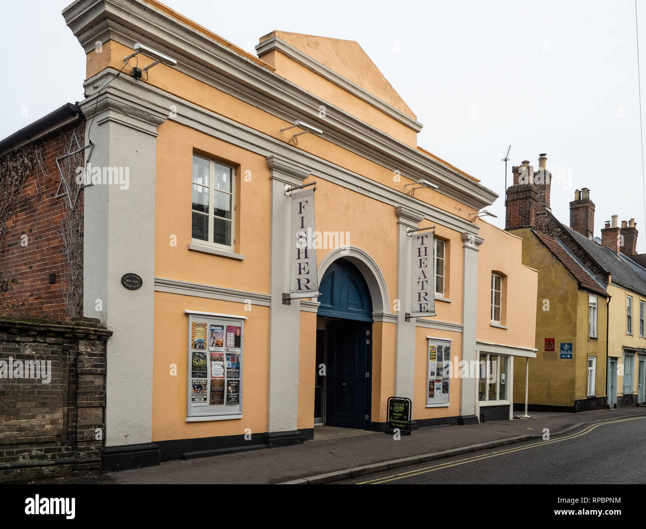 A view of the front of the Fisher Theatre in Bungay, Suffolk - Stock Image