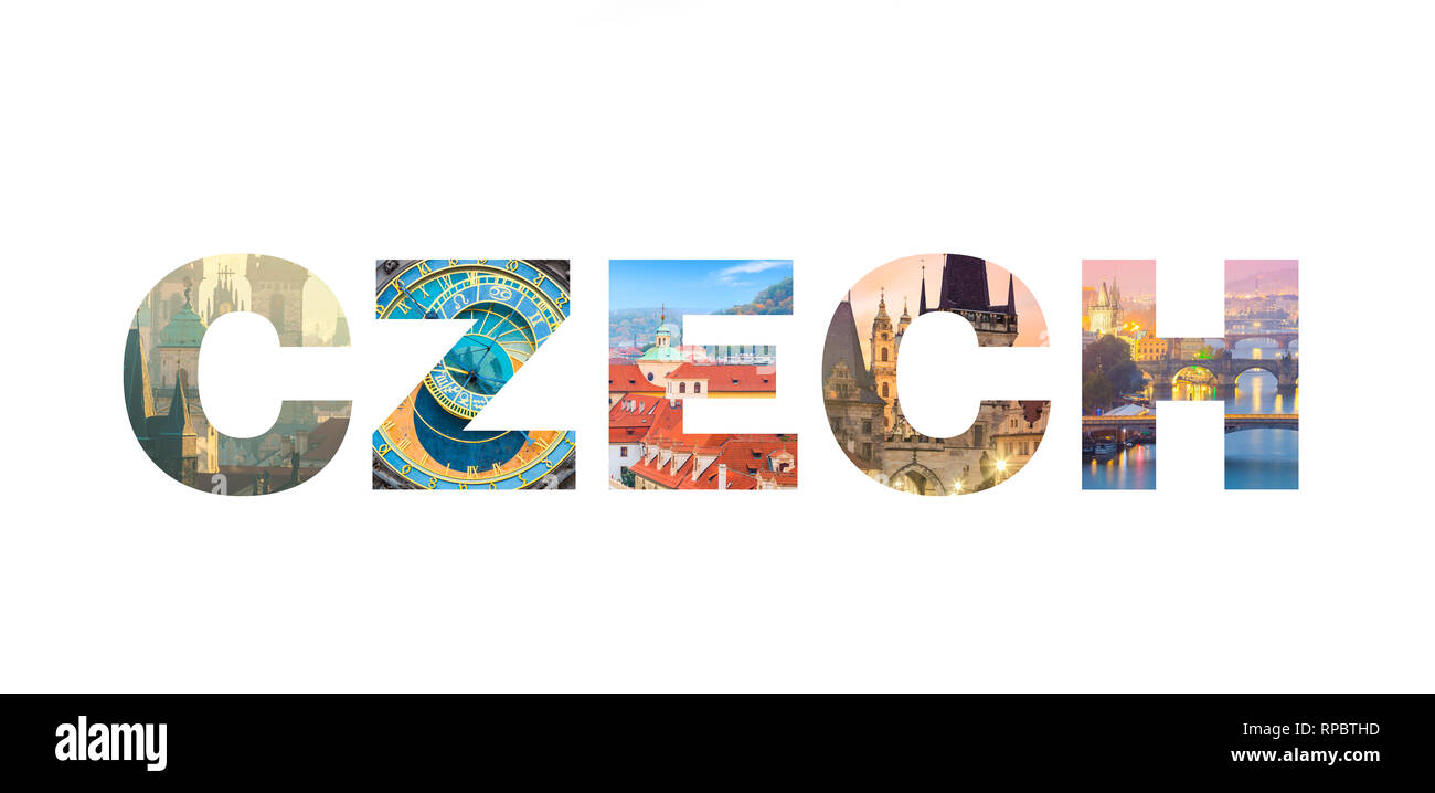 Famous Czech landmarks in photo collage, Letters CZECH isolated on white background, popular touristic locations - Stock Image