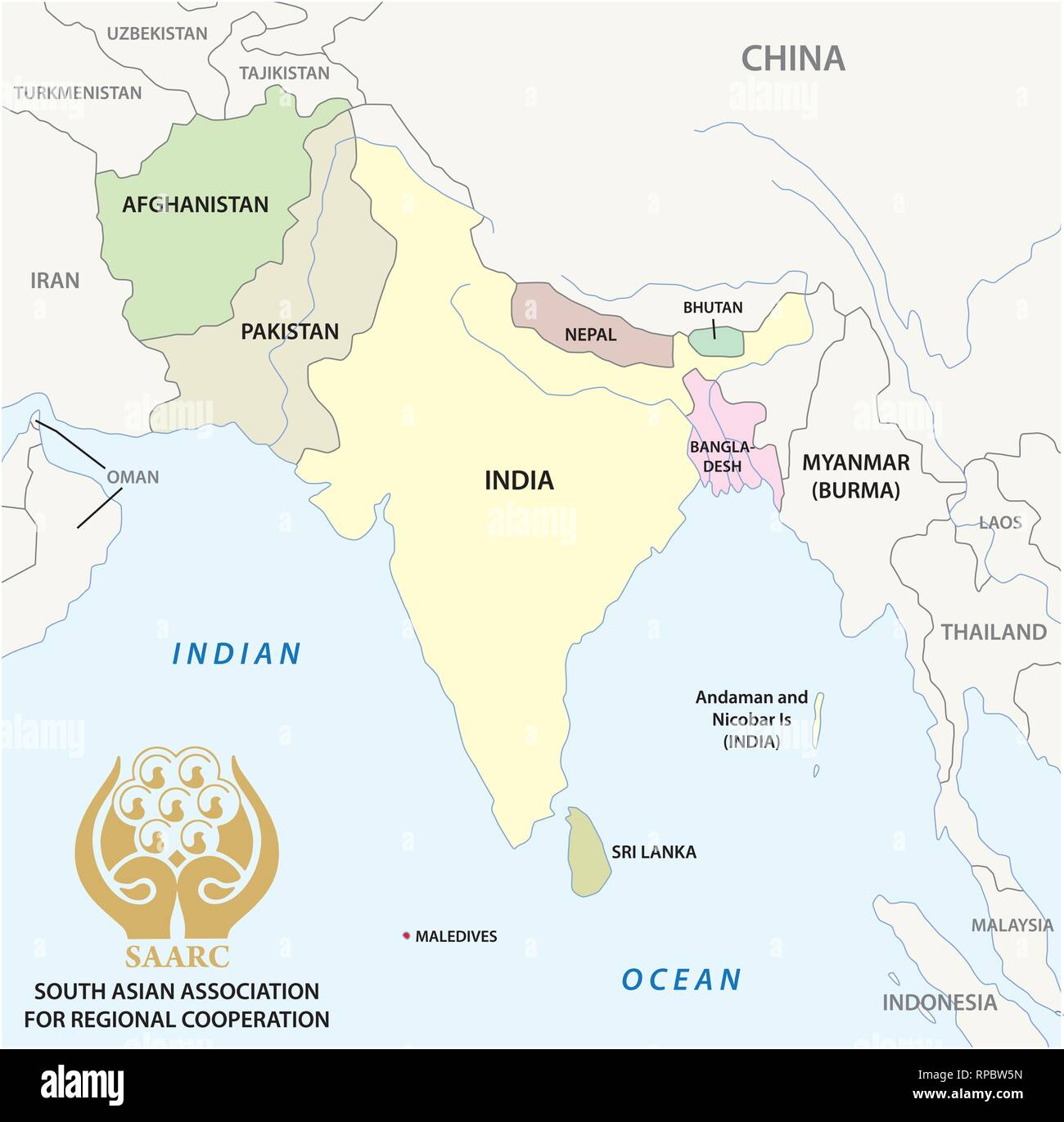 South Asian Association for Regional Cooperation (SAARC) vector map with logo - Stock Vector
