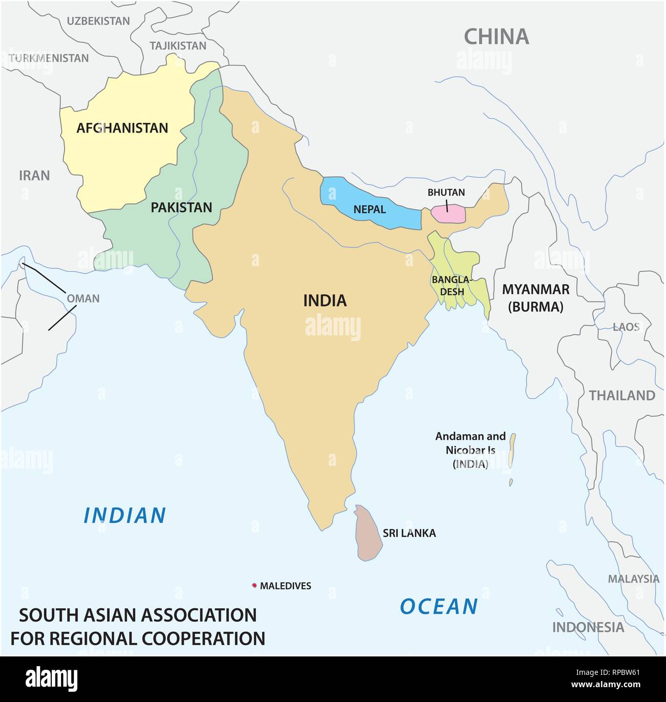South Asian Association for Regional Cooperation (SAARC) vector map 2 - Stock Vector
