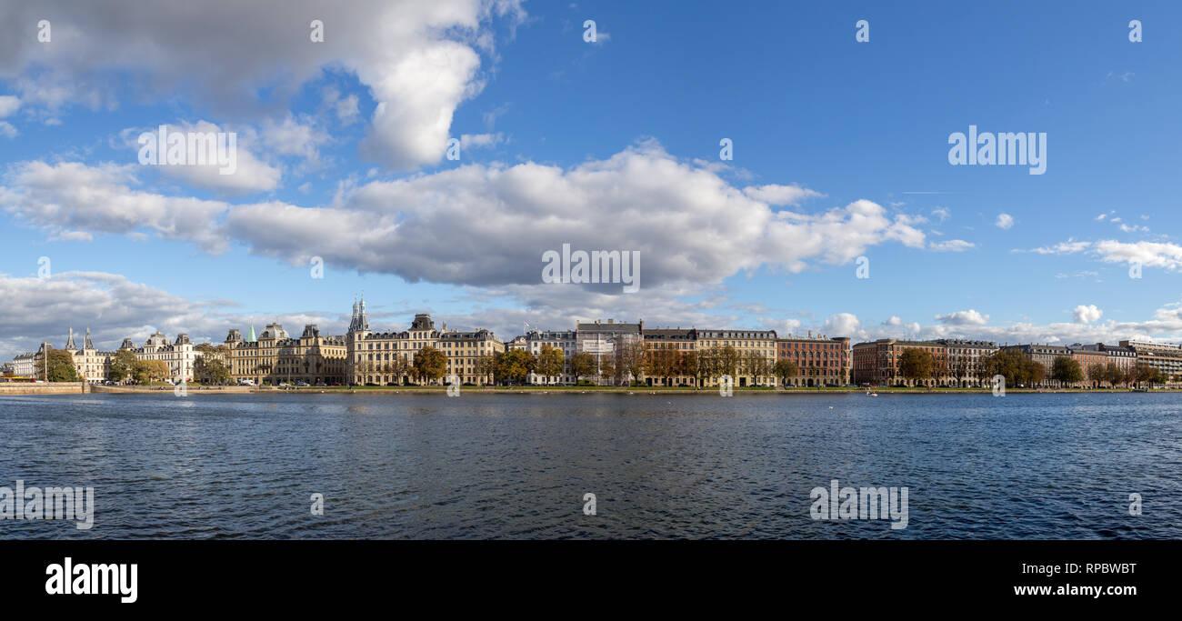 Panoramic View over The Lakes in Copenhagen, Denmark - Stock Image