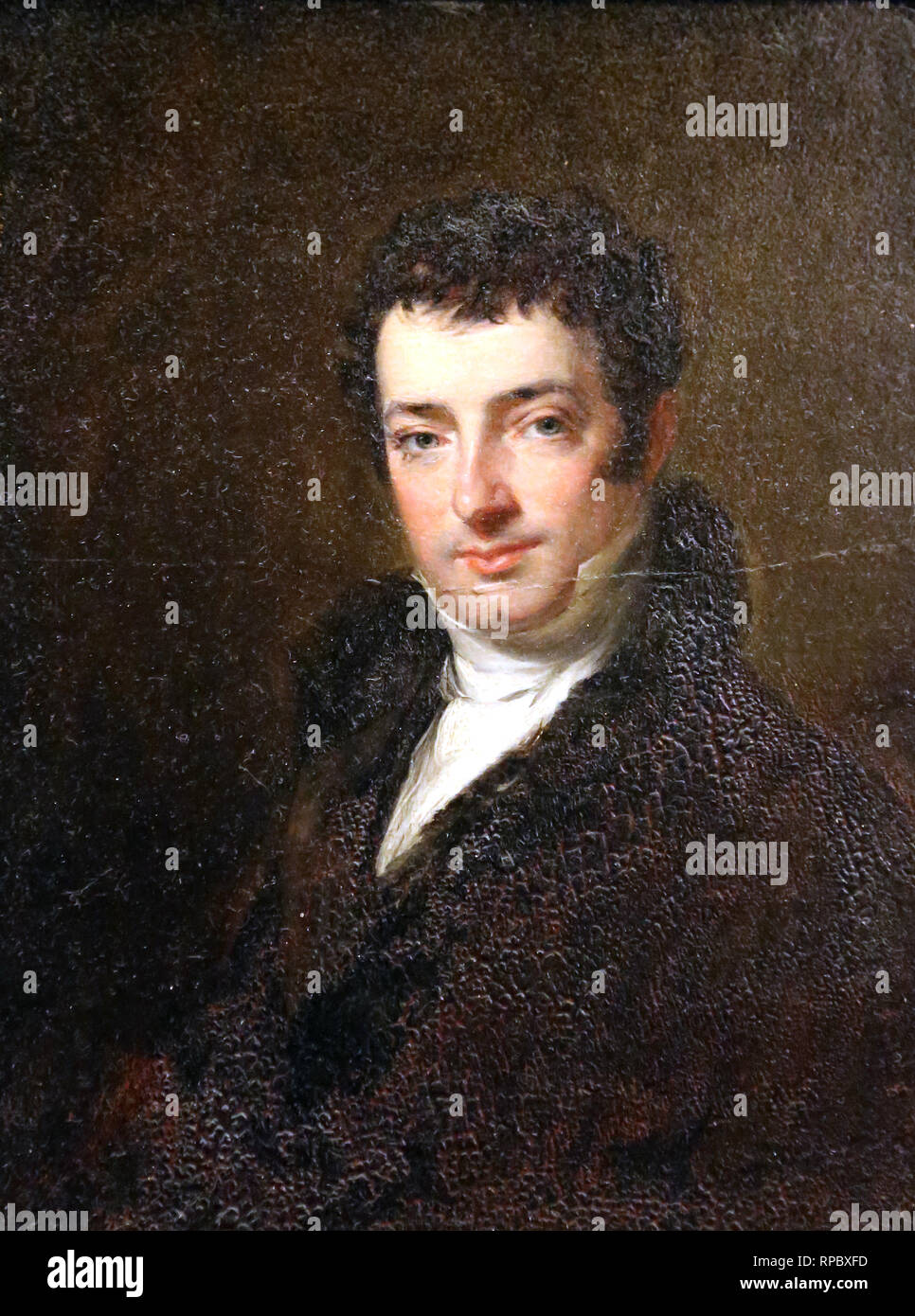 Washington Irving (1783-1859). American writer. Portrait by Charles Robert Leslie (1794-1854). Oil on canvas, 1820. - Stock Image