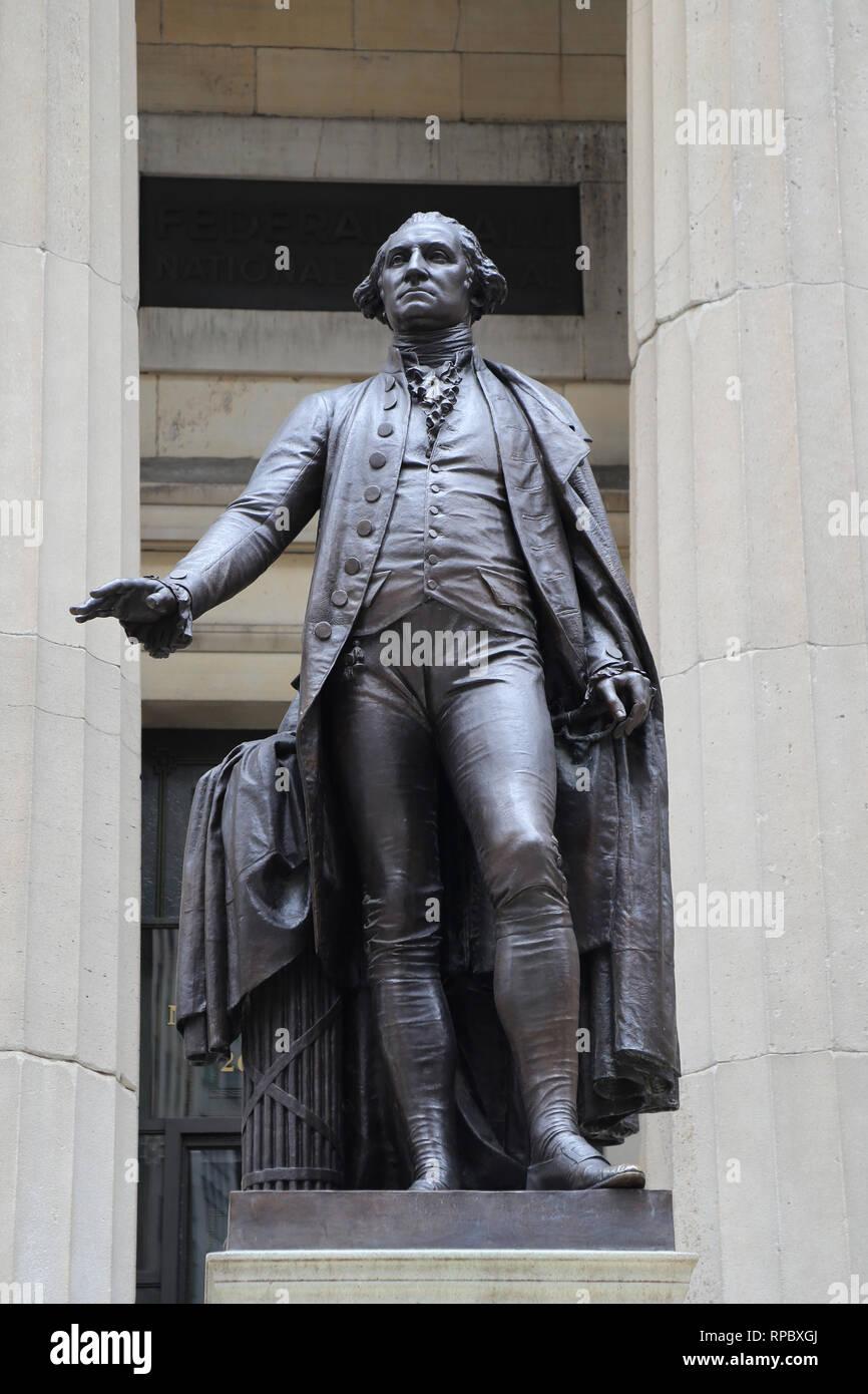 George Washington (1732-99). President of USA. Author: J.Q.A. Ward (1830-1910), 1883. Federal Hall, NY. Usa. - Stock Image