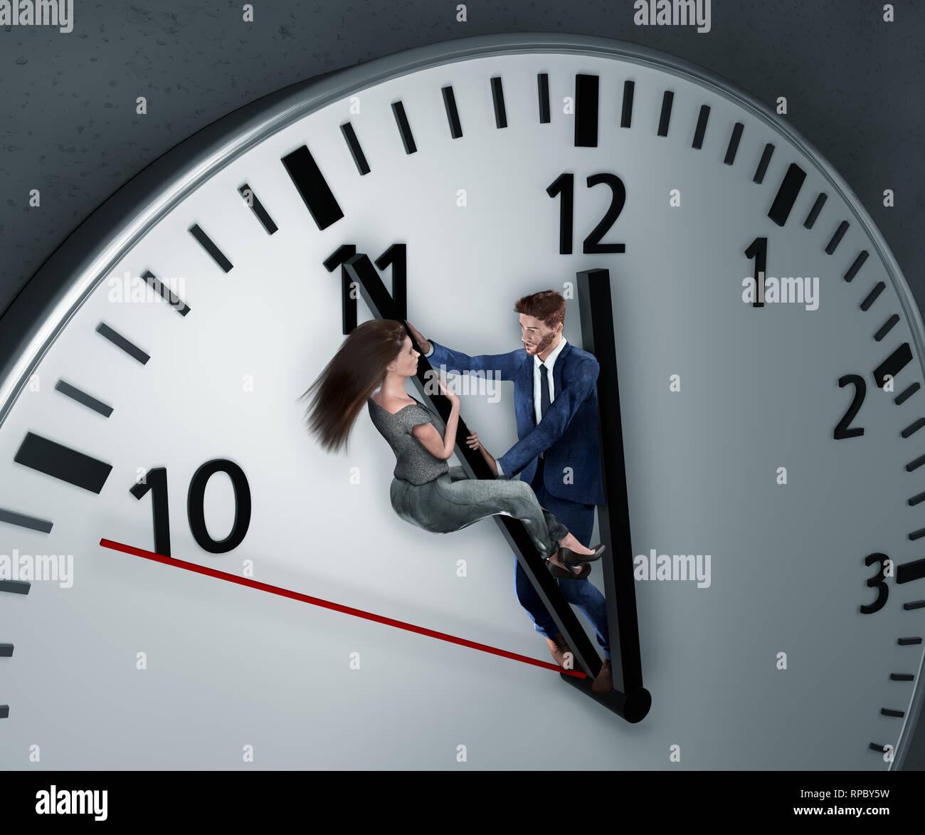 Angestellte stemmen sich verzweifelt gegen Uhrzeiger um sich mehr Zeit zu verschaffen damit der Abgabetermin doch noch einhalten werden kann Stock Photo