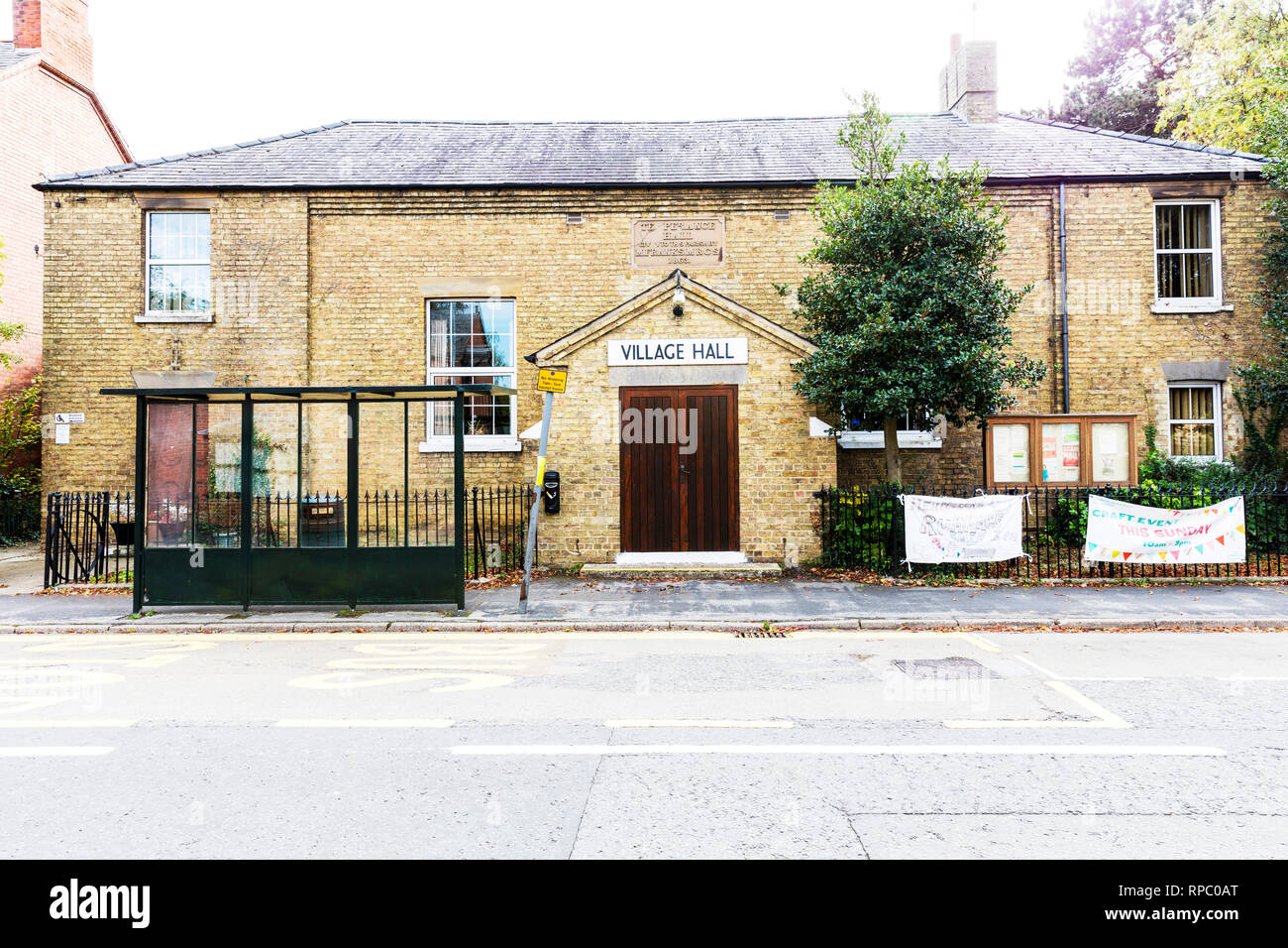 Heckington Village Hall, Heckington Temperance Hall, Village Hall, building, exterior, sign, historic, village halls, Lincolnshire UK, village hall, Stock Photo