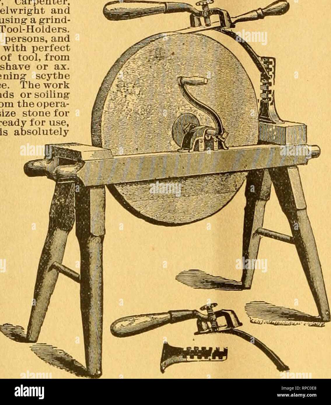 . American bee journal. Bee culture; Bees. 446 THE AMERICAN BEE JOURNAL. July 'J, A HANDY TOOL-HOLDER! Seut by Express, for $1.50 ; or Avifii tlie Bee Journal one year—both for $2.00. Every Manufacturer, Miller, Carpenter. Cabinet Maker, Machinist. Wheelwright and ? Quarryman, Farmer, or any one using- a grind- stone, should have one of those Tool-Holders. One boy can do the work of two persons, and grind much faster, easier and with perfect accuracy. Will hold any kind of tool, from the smallest chisel to a draw shave or ax. Extra attachment lor sharpening- scythe blades included ia the above - Stock Image