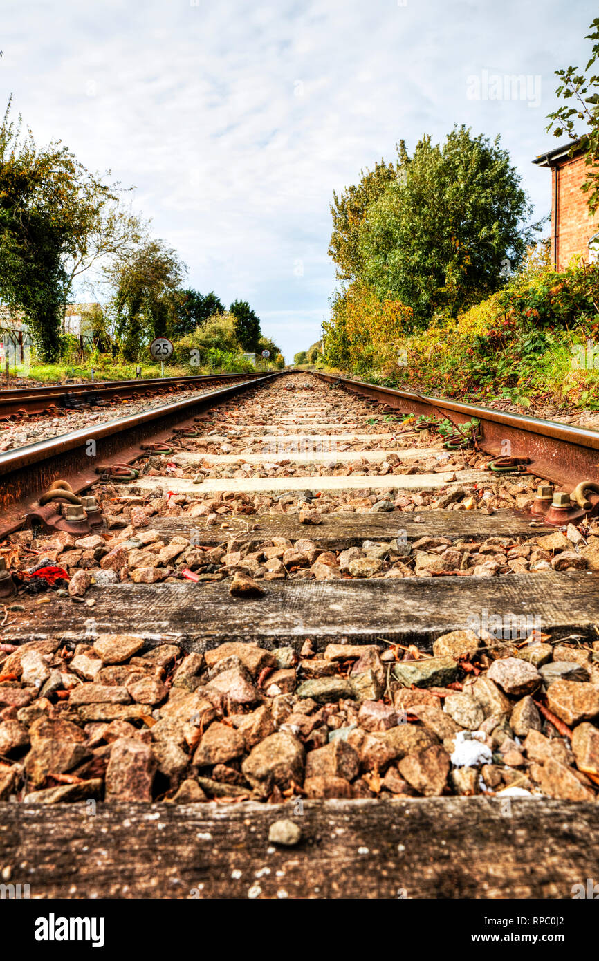 Railway line, rail line, railway sleepers, UK rail, train track, track, train tracks, train line, track, rail, railway, lines, tracks, sleeper, UK - Stock Image