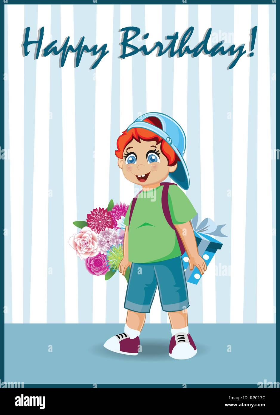 Happy Birthday Greeting Card Of Cute Little Red Head Boy With Bunch Beautiful Flowers And Gift Box Stand In Room With Striped Wallpaper Kawaii Baby C Stock Vector Image Art