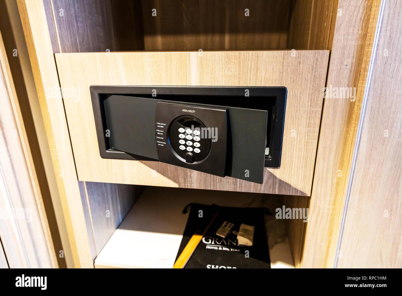 Hotel safe, electronic safe, hotel security, hotel electronic safe, push button safe, hotel safes, safe, security, holiday security, assa abloy safe, Stock Photo
