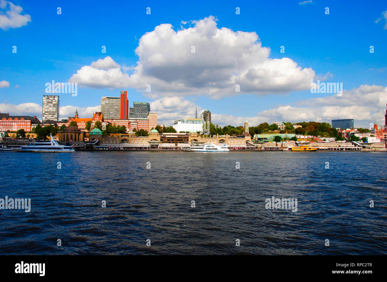 panorama view on the Landungsbrücken in Hamburg in Germany - Stock Image