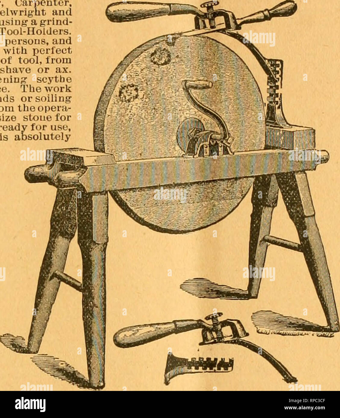 . American bee journal. Bee culture; Bees. 1896. THE AMERICAN BEE JOURNAL. 283 A HANDY TOOL-HOLDER! Sent by Exprcsi, for $1.30 ; or ivilli the Bee Journal one year—both for $3.00. Every Manufacturer. Miller, Carpenter, Cabinet Maker, Machinist. Wlieehvrigut and Quarryman. Farmer, or any oneusiu^aijrind- stone, should liave one of tlioso Tool-Holders. One boy can do the work of two persons, and grind much faster, easier and with perfect accuracy. Will hold any kind of tool, from the smallest chieel to a draw shave or ax. Extra attaehiueut for sharpening' scythe blades included iu the above pric - Stock Image