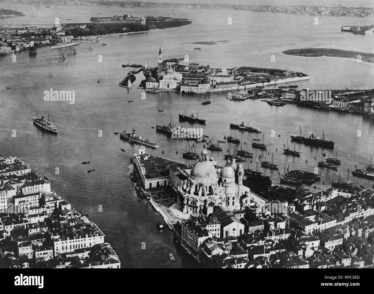 Italy, Veneto, Venice, Santa Maria della Salute, Punta della Dogana and San Giorgio Island, 1910-20 - Stock Image
