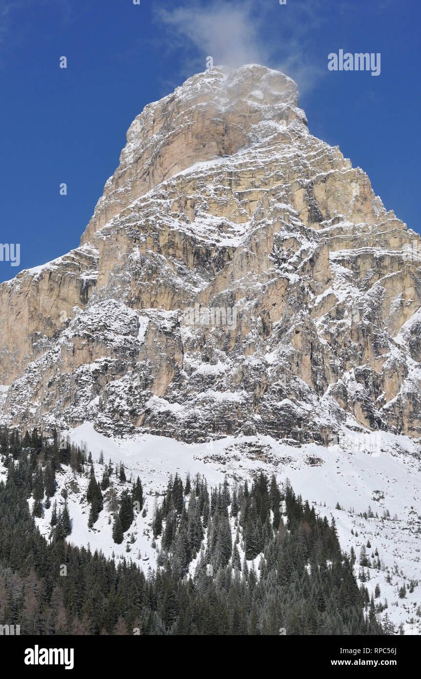 Corvara in Badia. Trentino Alto Adige. Italy. Sassongher mountain. - Stock Image
