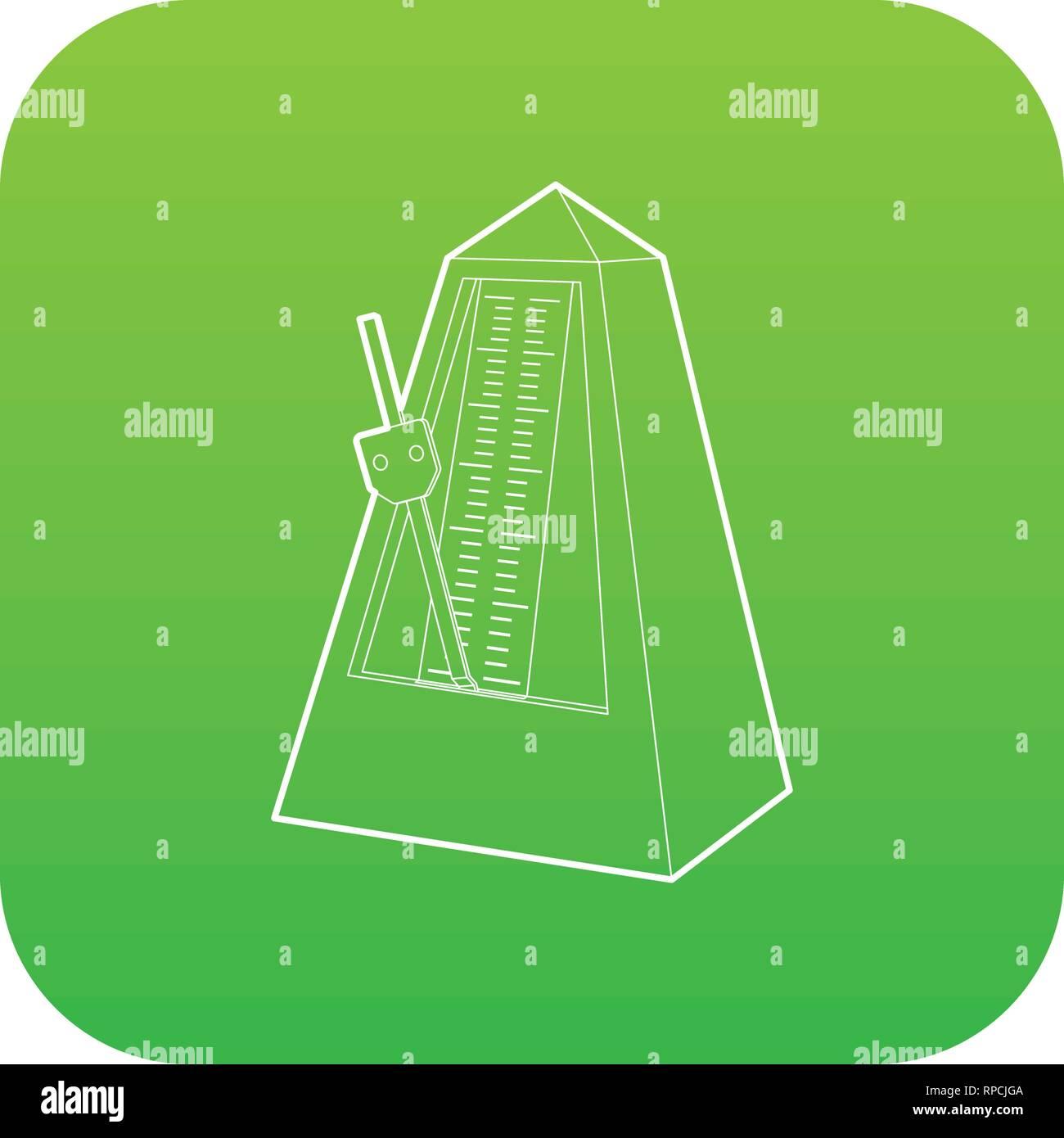 Metronome icon green vector - Stock Image