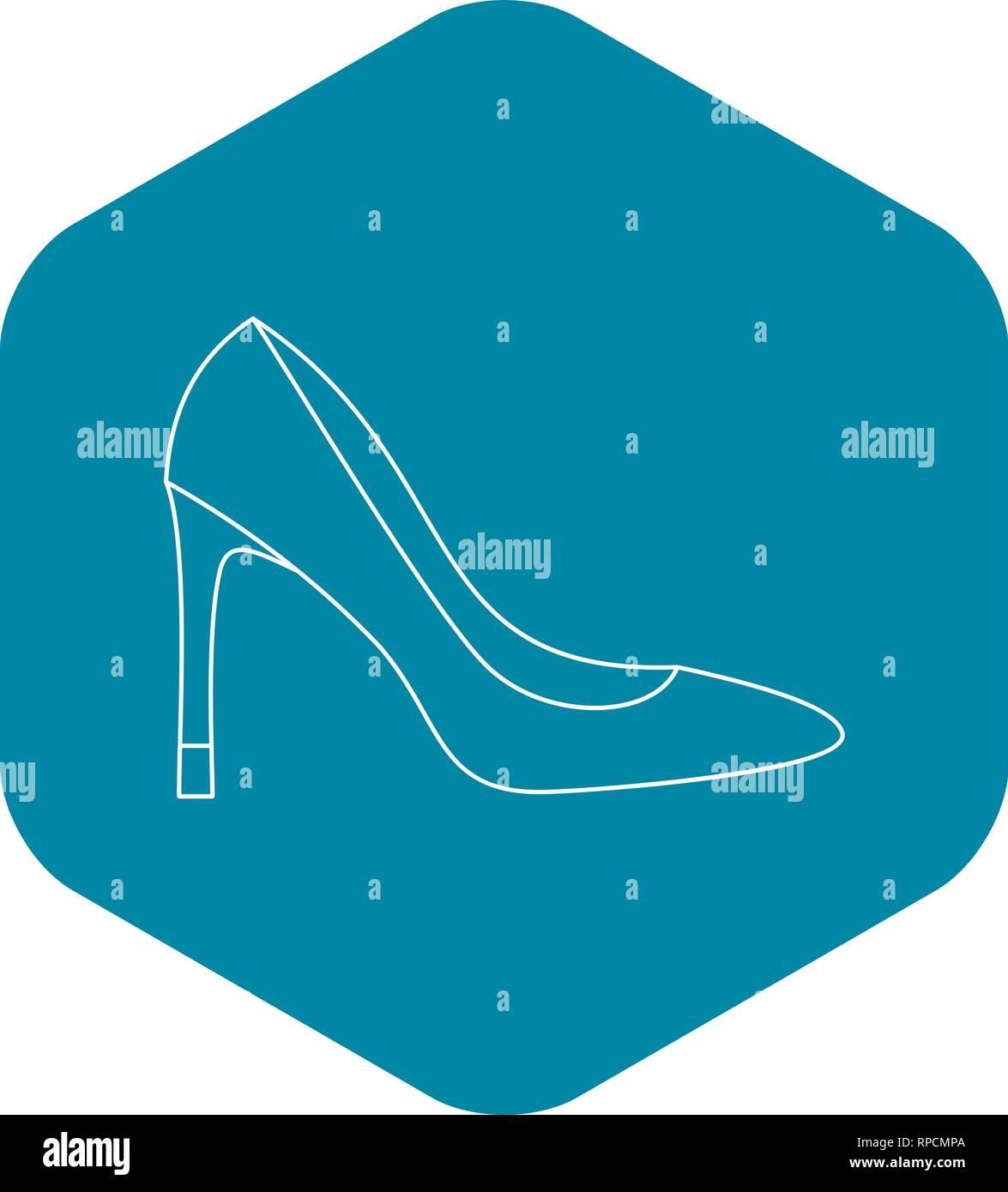 High heel women shoe icon, outline style - Stock Vector