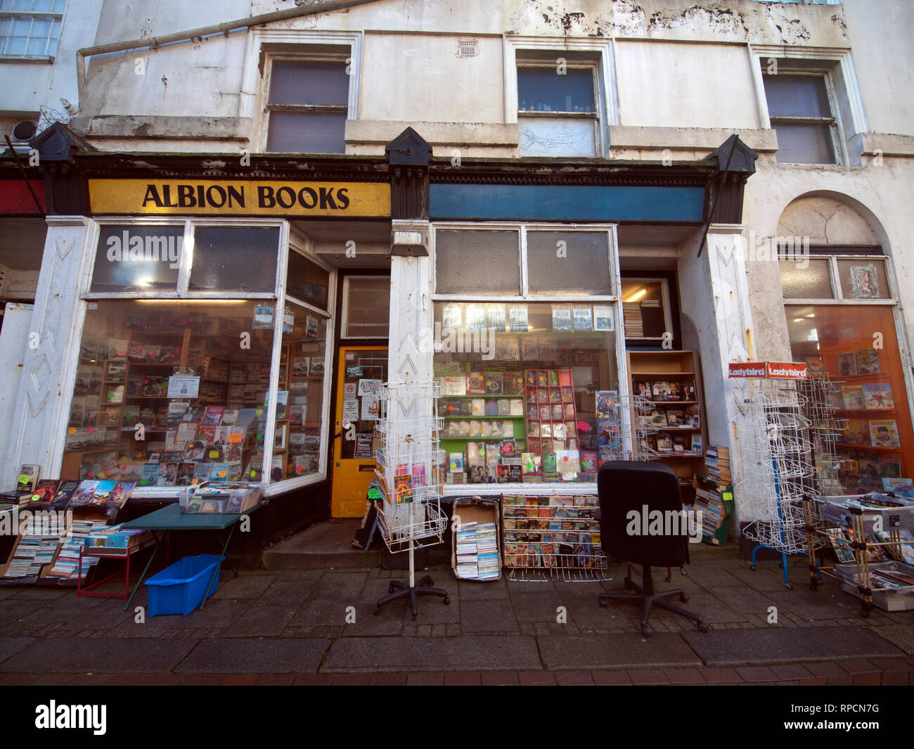 Secondhand book shops in the Old Town of Hastings - Stock Image