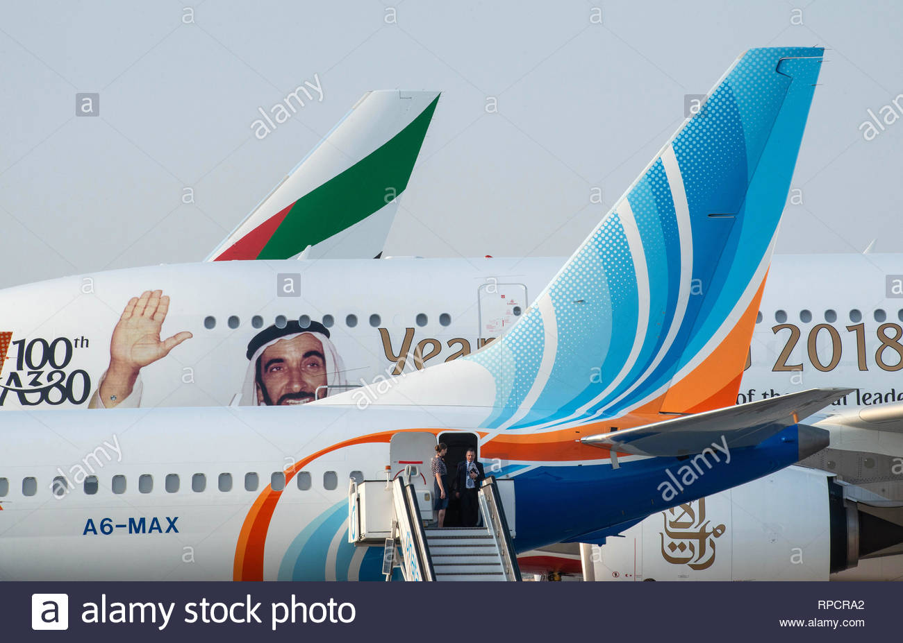 Three UAE airliners at Al Maktoum International Airport Dubai - Stock Image
