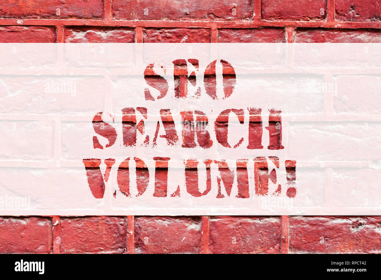 Conceptual hand writing showing Seo Search Volume. Business photo text quantity of searches that occur for particular keyword Brick Wall art like Graf - Stock Image