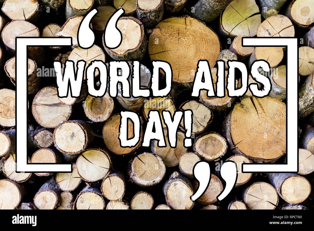 Handwriting text World Aids Day. Concept meaning 1st December dedicated to raising awareness of the AIDS Wooden background vintage wood wild message i - Stock Image