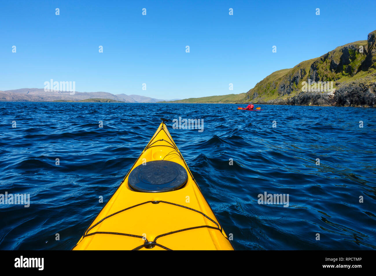 Sea Kayaking around Lismore, Inner Hebrides, Scotland, UK - Stock Image
