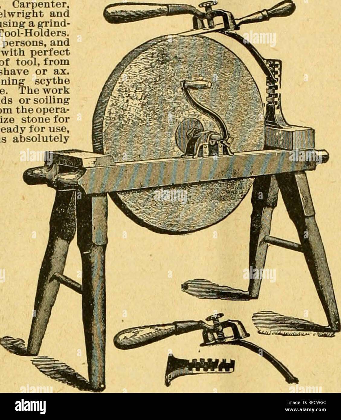 . American bee journal. Bee culture; Bees. 398 AMERICAN BEE JOURNAL. June 21, 1900. A HANDY TOOL-HOLDER! Sent by Express, for f 1.50 ; or with tlie Bee Journal one year—both for $2.00. Every Manufacturer, Miller, Carpenter. Cabinet Maker, Machinist. Wheelwright and Quarryman. Farmer, or any one using a grind- stone, should have one of these Tool-Holders. One boy can do the work of two persons, and grind much faster, easier and with perfect accuracy. Will hold any kind of tool, from the smallest chisel to a draw shave or ax. Extra attachment for sharpening scythe blades included in tlie above p - Stock Image