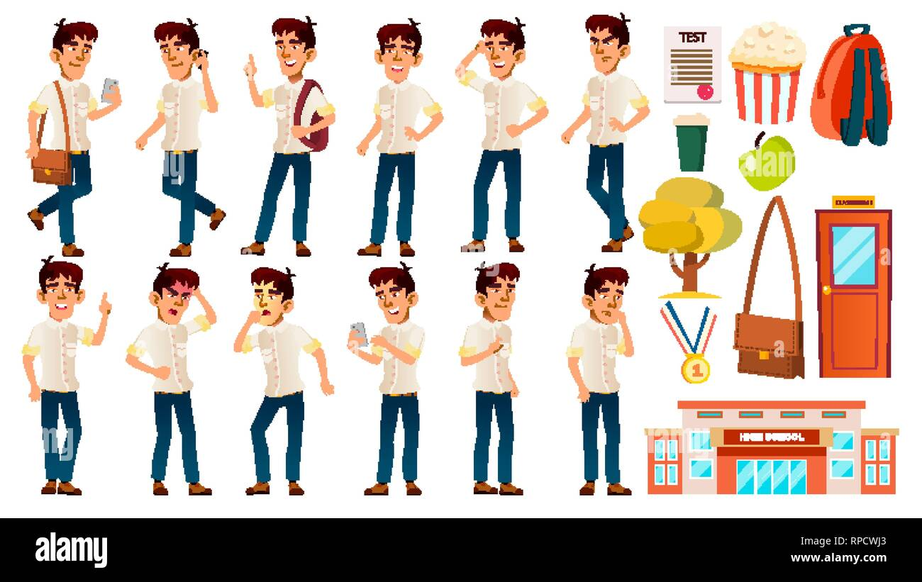 Asian Boy Schoolboy Kid Poses Set Vector. Emotional. White Shirt. High School Child. Children Study. Knowledge, Learn, Lesson. For Advertising - Stock Image
