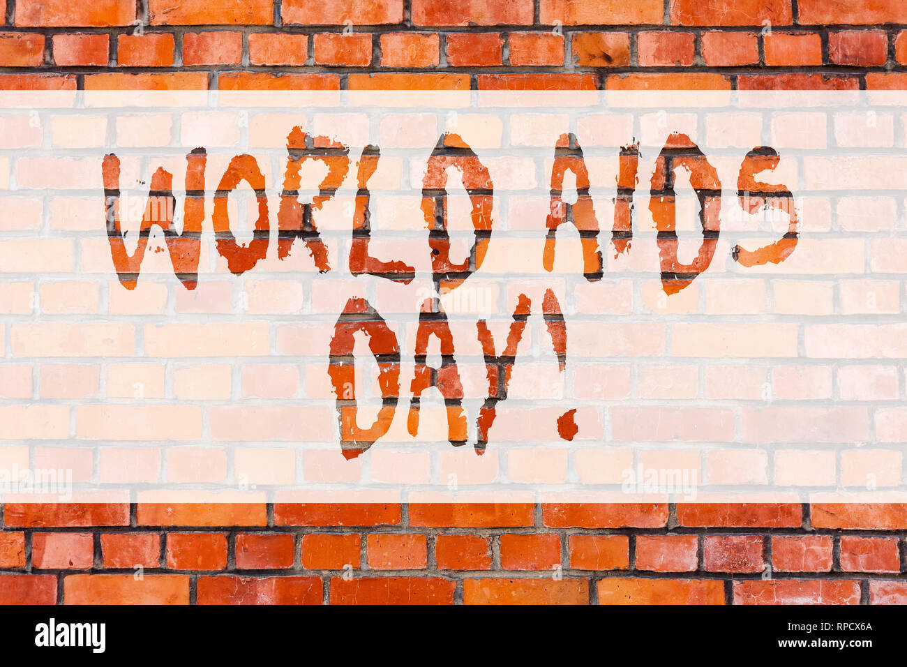 Writing note showing World Aids Day. Business photo showcasing 1st December dedicated to raising awareness of the AIDS Brick Wall art like Graffiti mo - Stock Image