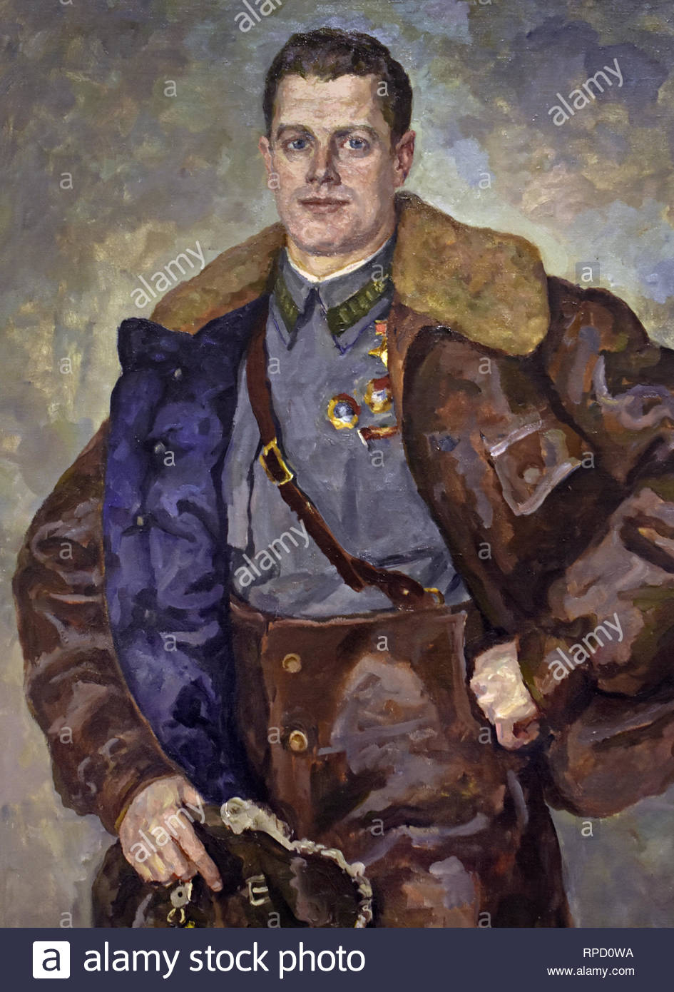 Portrait of Andrei Yumashev 1941 by Peter Konchalovsky. Soviet Union Communist Propaganda (Russia under Lenin and Stalin 1921-1953 ). - Stock Image