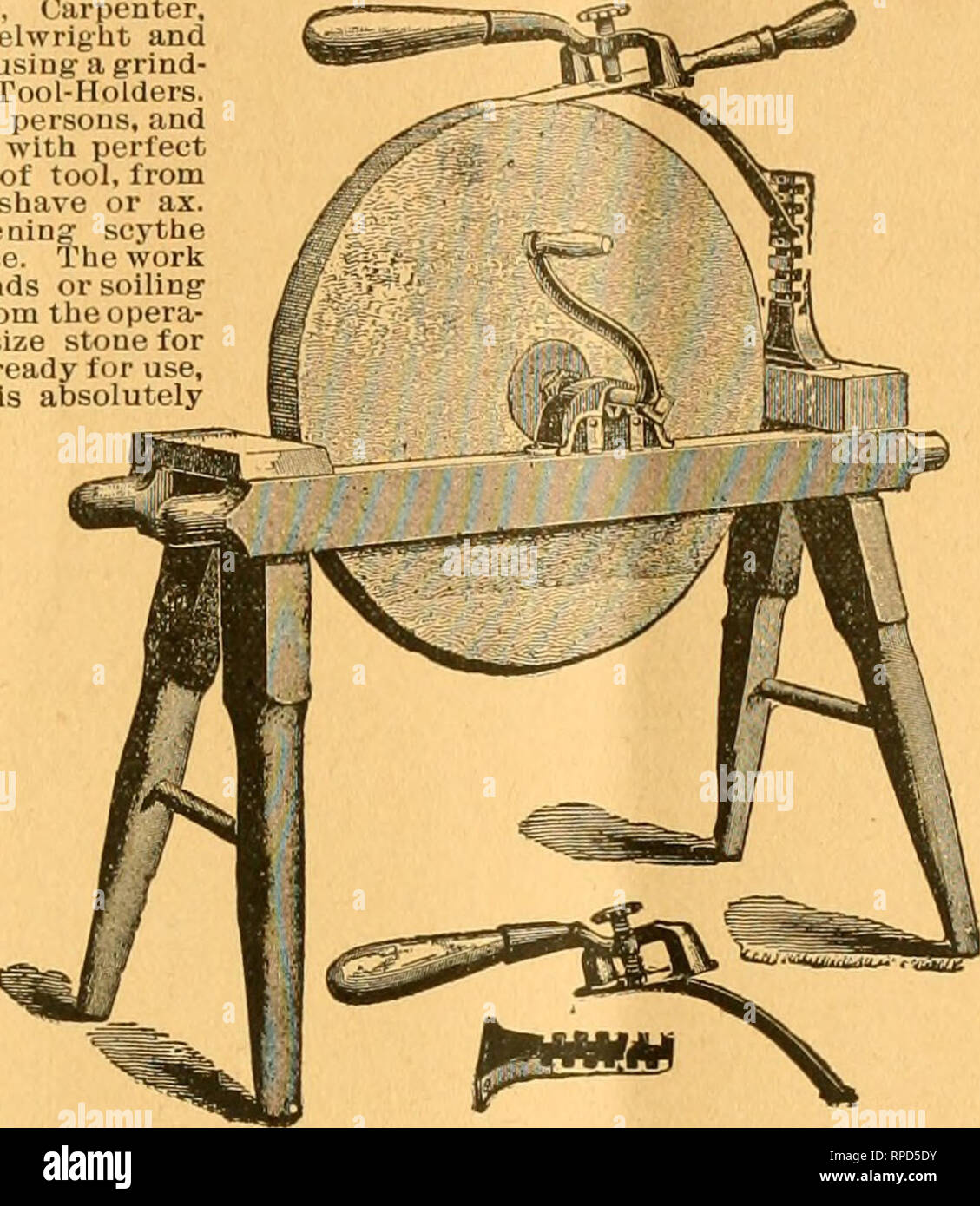 . American bee journal. Bee culture; Bees. 1896. THE AMERICAN BEE JOURNAL. 299 A HANDY TOOL-HOLDER! Sent by Expre§s, for $1.50; or with the Bee JournaS one year—both for $2.00. Every Manufacturer, Miller, Carpenter, Cabinet Maker, Machinist. Wheelwrigbt and Quarryman, Farmer, or any one using- a grind- stone, sliould have one of tlieso Tool-Holders. One boy can do the work of two persons, and grind much taster, easier and with perfect accuracy. Will hold any kind of tool, from the smallest chisel to a draw shave or ax. Extra attachment lor sharpening scythe blades included iu the above price.  - Stock Image