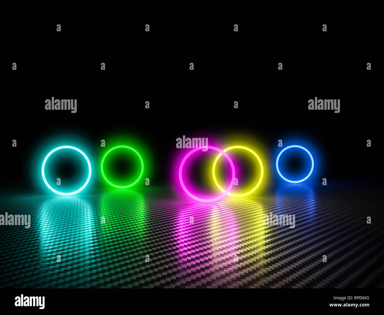 colorful glowing cirlce on carbon fiber background 3d rendering image - Stock Image
