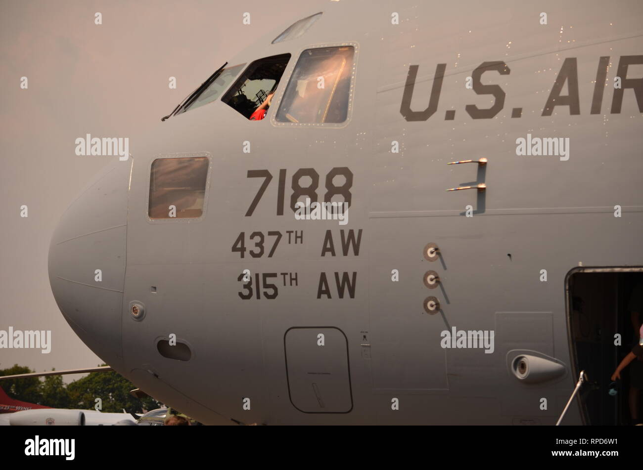 Boeing C-17 Globemaster,  military transport aircraft. - Stock Image