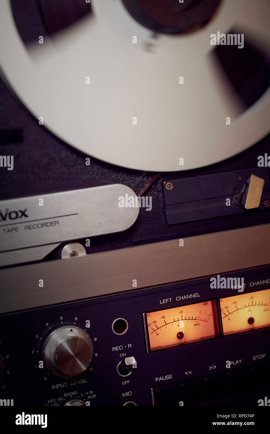 Vertical of Revox B77 reel to reel tape dec with emphasis on the VU meters - Stock Image