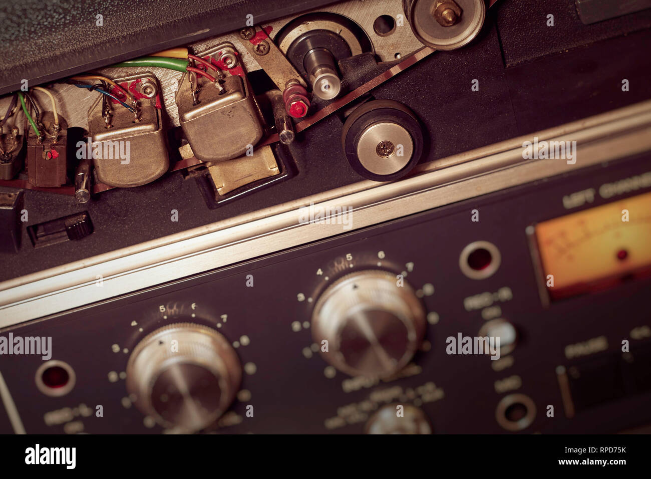 Horizontal of tape record heads and controls on a reel to reel - Stock Image