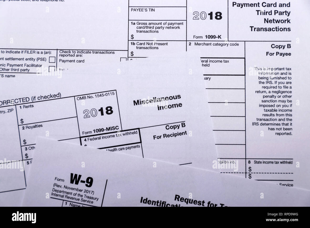Composed shot of IRS tax forms 1099-MISC, 1099-K and W-9