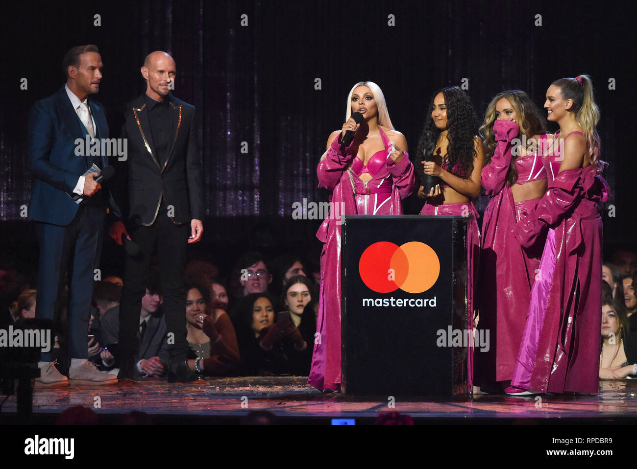 Photo Must Be Credited ©Alpha Press 079965 20/02/2019 Matt and Luke Goss Bros Jesy Nelson Leigh Anne Pinnock Jade Thirwall Perrie Edwards Little Mix The Brit Awards 2019 Live Show at The O2 Arena London - Stock Image