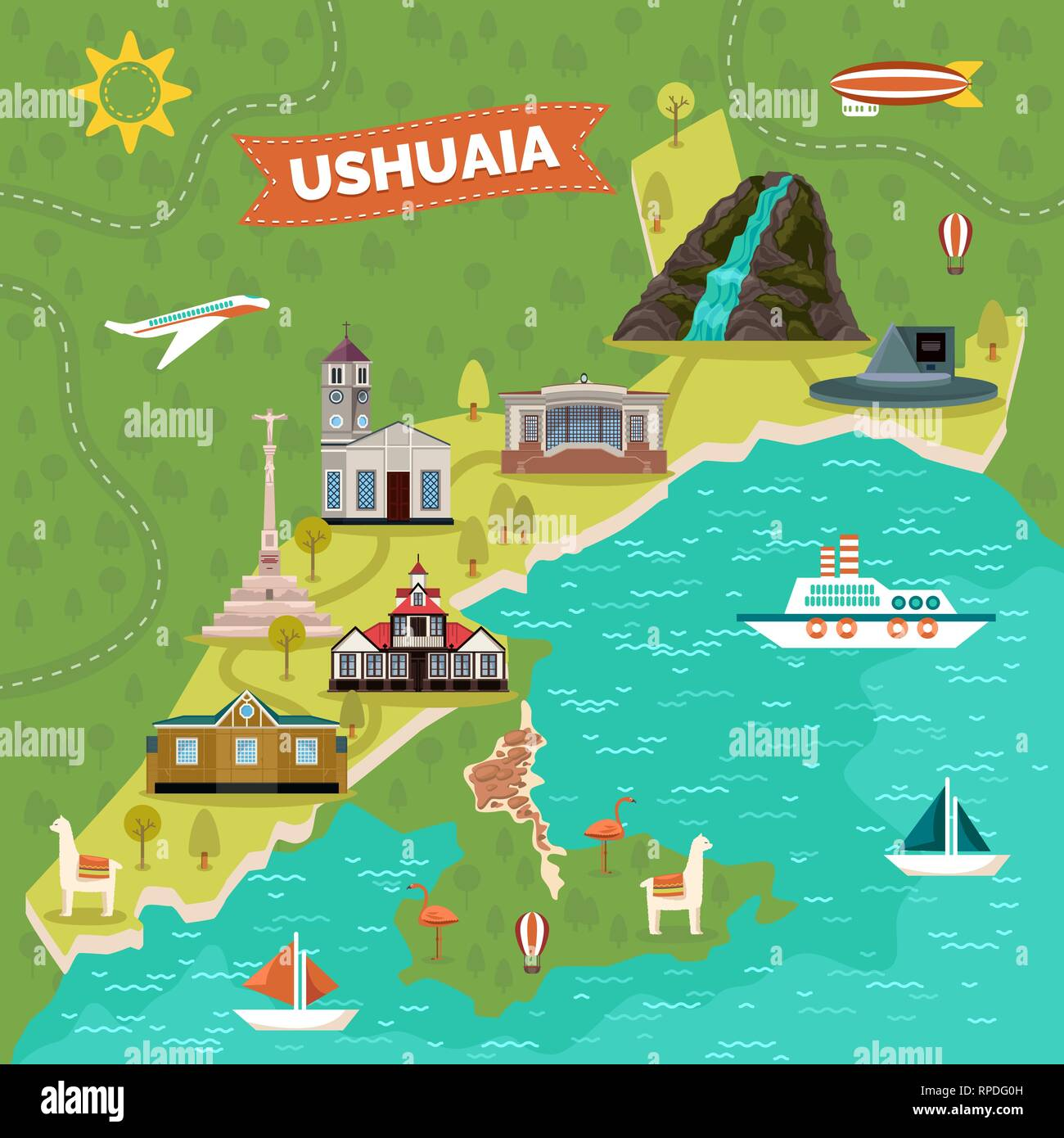 Ushuaia town map with sights, landmark advertising Stock ... on current events maps, environmental issues maps, horse track maps, service provider maps, professional networking maps, interview maps, market growth maps, trade show maps, designing maps, misleading maps, ancient world history maps, large format maps, radio coverage maps, visual thinking maps, commercial maps, primitive maps, cartography maps, exclusive distribution maps, computer game maps, top 10 maps,